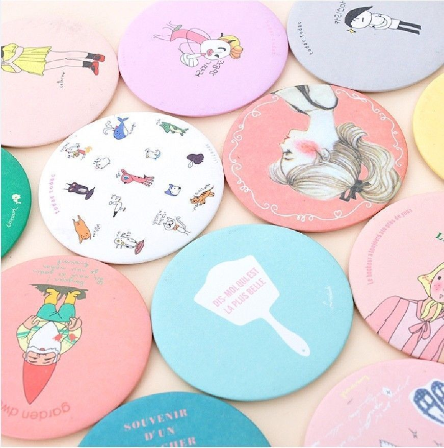Lot 10 pcsWoman Portable Mirror Korean Round Mirror cute Sweet Lovely Small Cosmetic(China (Mainland))