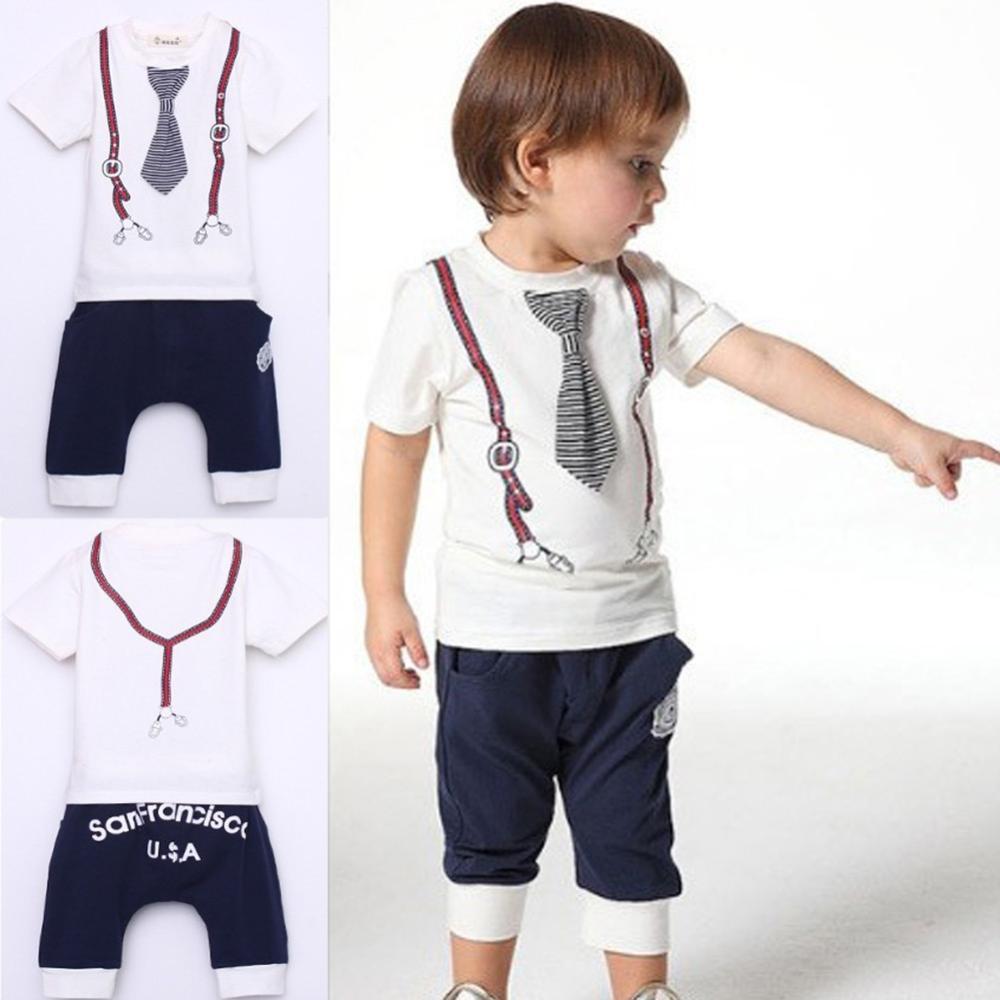 Hot New Kids Baby Boy Cotton Tie Belt Print Top T Shirt Short Pants Tops 1