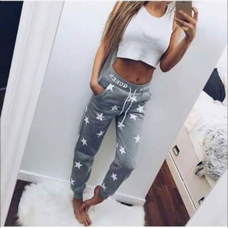 COCKCON New Loose Pants Women Star Printed Fashion Tee Casual Pants High Quality Long Hot Sale