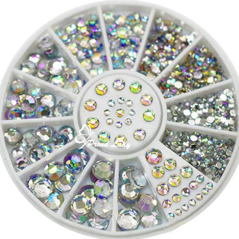 2015 Hot 5 Sizes 1.5-5mm White Multicolor Round Acrylic 3D Nail Art Decoration Glitter Rhinestones 1 Box(China (Mainland))