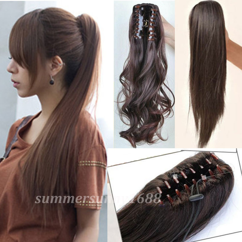 UPS Local Shipping 21 Long  Ponytail Clip in Pony tail Hair extensions Claw on Hair Piece Straight Style Fashion NEW Style<br><br>Aliexpress
