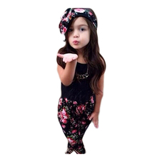 Buy Summer style Girls Fashion floral casual suit children clothing set sleeveless outfit +headband 2016 summer new kids clothes set for $8.29 in AliExpress store