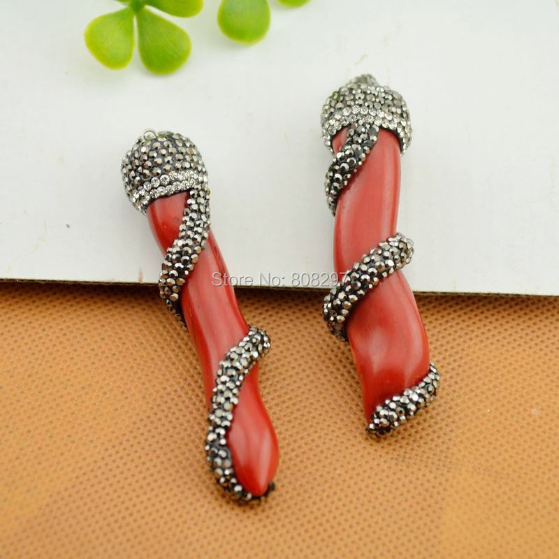 Fashion 5Pcs Natural Red Coral Branch Shape Pendant, with Crystal Rhinestone Paved Gem Stone Druzy Pendant Jewelry Making