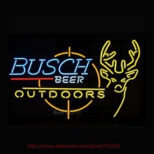 BUSCH LIGHT DEER Outdoors Neon Signs Store Display Handcrafted Neon Bulbs Real Glass Tube Neon Beer Bar Signs Professional 24×20
