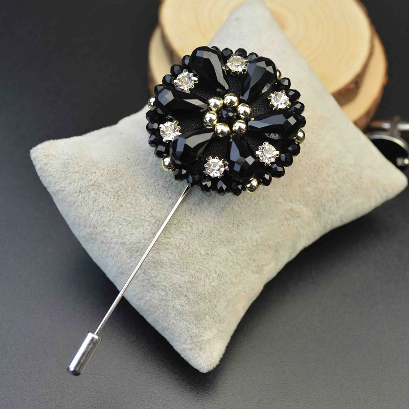 Men Exquisite Lapel Pins Beaded Flower Brooches Handmade Boutonniere Stick Brooches Beads Pin Men's Accessories with 2 Colors(China (Mainland))
