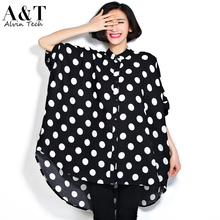 Hot Women 2016 Summer Plus Size Blouses Ladies Fashion Oversized Batwing Sleeve Polka Dot Prints Super Large Loose Shirts Tops(China (Mainland))