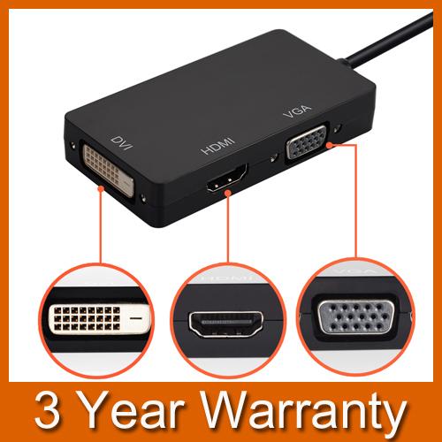 3 in 1 Mini Display Port Thunderbolt to HDMI/DVI/VGA Display Port Cable Adapter for Mac Book MacBook Pro MacBook Air Mac mini(China (Mainland))