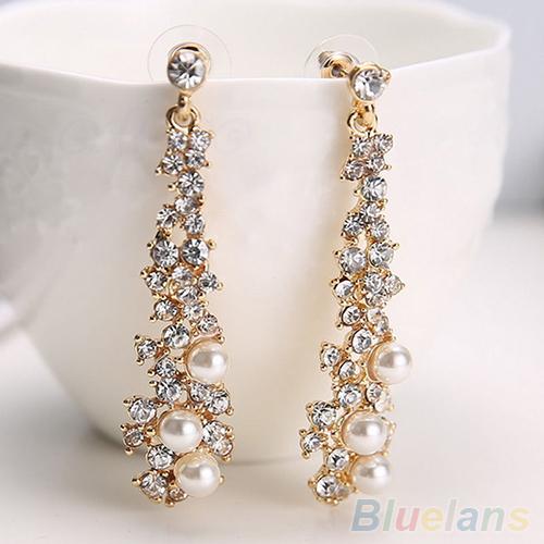 Elegant Chic Women Ladys Pearl Rhinestone Chandelier Stud Earrings Jewelry <br><br>Aliexpress