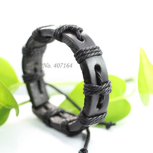 SF21- fashionable black wrap braided genuine leather bracelet Hemp rope unisex - SunFlower Trade Co.,Ltd store