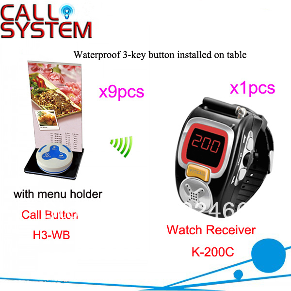 Restaurant Wireless Bell System K-200C+H3-WB+H with 9pcs call button and 1pcs watch receiver DHL Free shipping(China (Mainland))