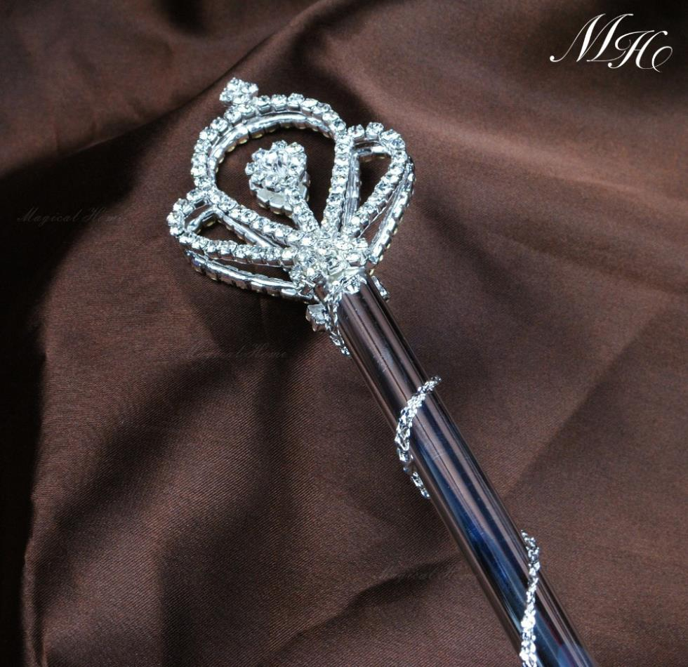 Royal Queen Pricness Sceptre Rhinestones Wedding Bridal Pageant Magic Fairy Double Side Scepter Wand Party Costumes(China (Mainland))