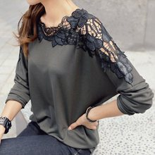 New autumn and winter 2015 women's shoulder after openwork crochet stitching loose bow tie casual t-shirts Women A1121