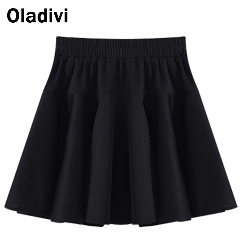 2016 New Style Women Solid Color Vintage Mini Skirt Female Elegant Elastic High Waist Skater Flared Pleated Plus Size 5XL - Oladivi official store