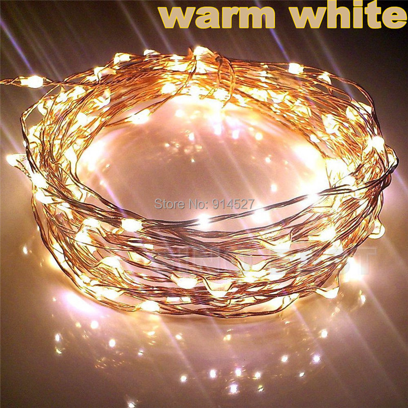 Outdoor 10M 33FT 100 LED Copper Wire String Lights Warm White Garland 220V 110V Holiday Christmas Party Decorations Lighting(China (Mainland))