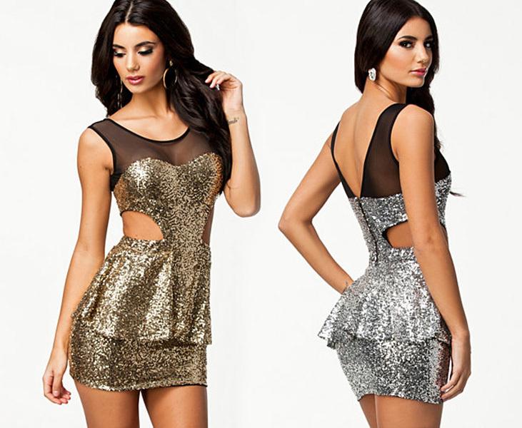 New Hot Sexy Gold Silver Sequins Sleeveless Mesh Hollw Out Peplum Mini Dress Women Summer Vestidos de festa Sundress(China (Mainland))