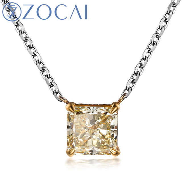 ZOCAI  BRAND 1 CT CERTIFIED F-G / SI DIAMOND PRINCESS CUT SOLID 18K YELLOW GOLD PENDANT 18K WHITE CHAIN 4 NECKLACE