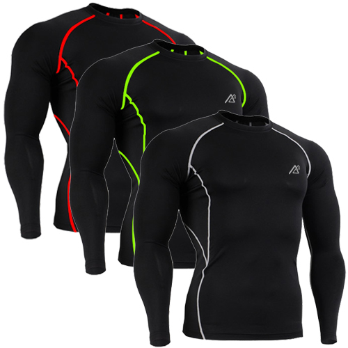 CPD-BL 3 COLORS / BASIC Bodybuilding Fitness Tights Running Compression Base Layer Long Sleeve Tops Shirts for Men S ~ XXL(China (Mainland))
