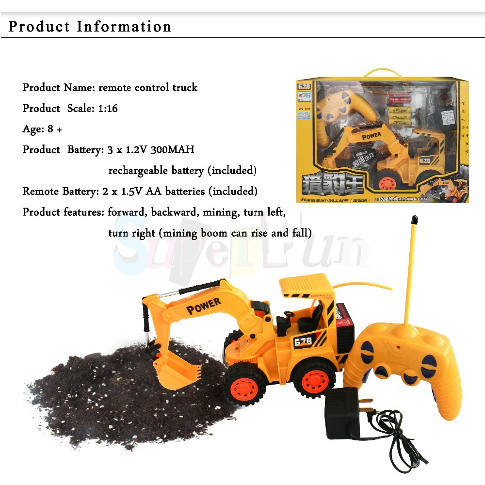 5CH 1:16 Remote Control excavator electric toy car,RC toy truck ,RC engineering car-Best Gift for Boys. FREE Shipping.