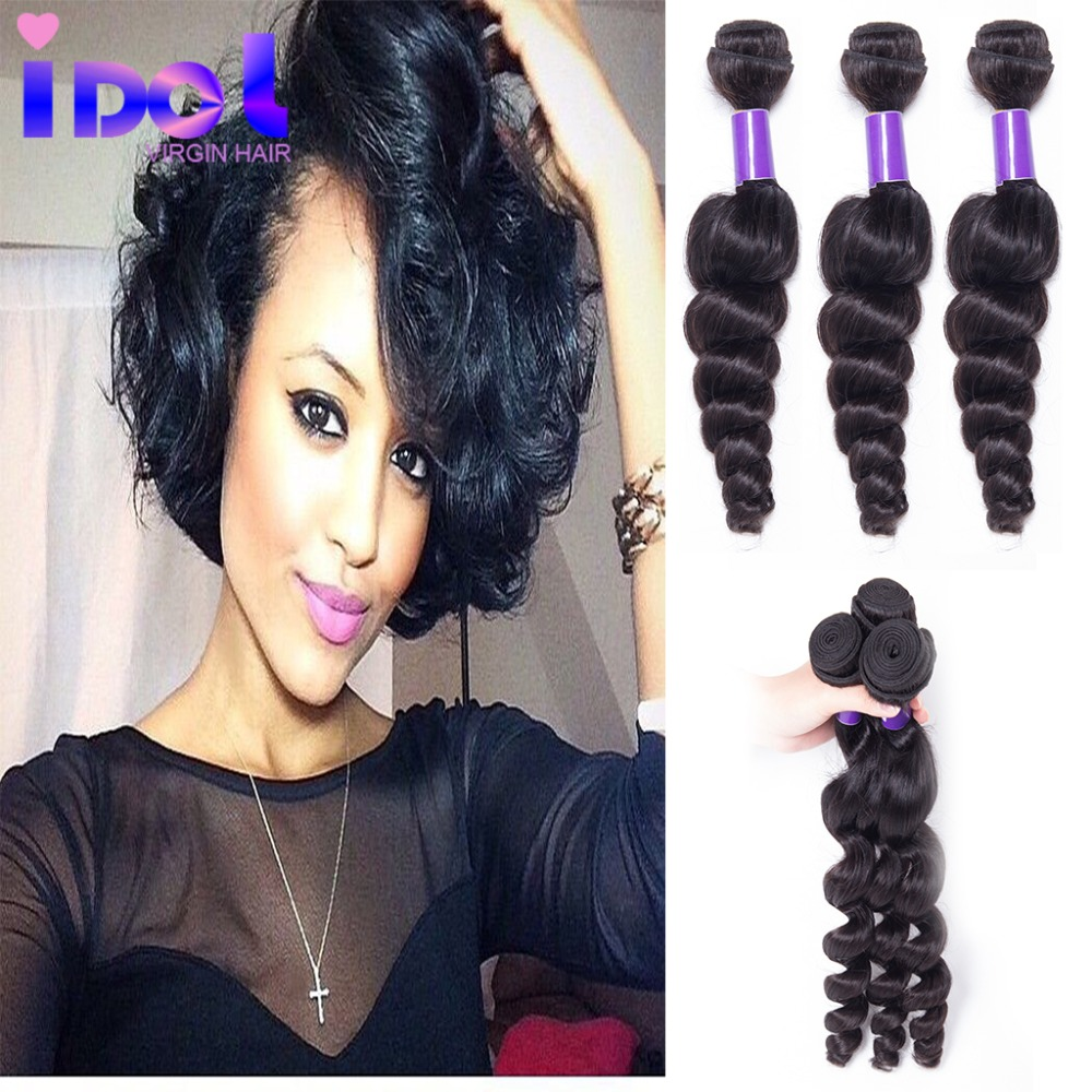 Rosa Hair Products Brazilian Virgin Hair Loose Wave 3 Bundles Unprocessed Brazilian loose Wave Hair Extension Human Hair Weave<br><br>Aliexpress