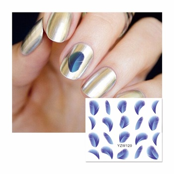 YZWLE 1 Sheet Nail Water Sticker Chic Blue Feather Designs Nail Art Beauty Water Stickers Nails Decoration Decals Tools 120