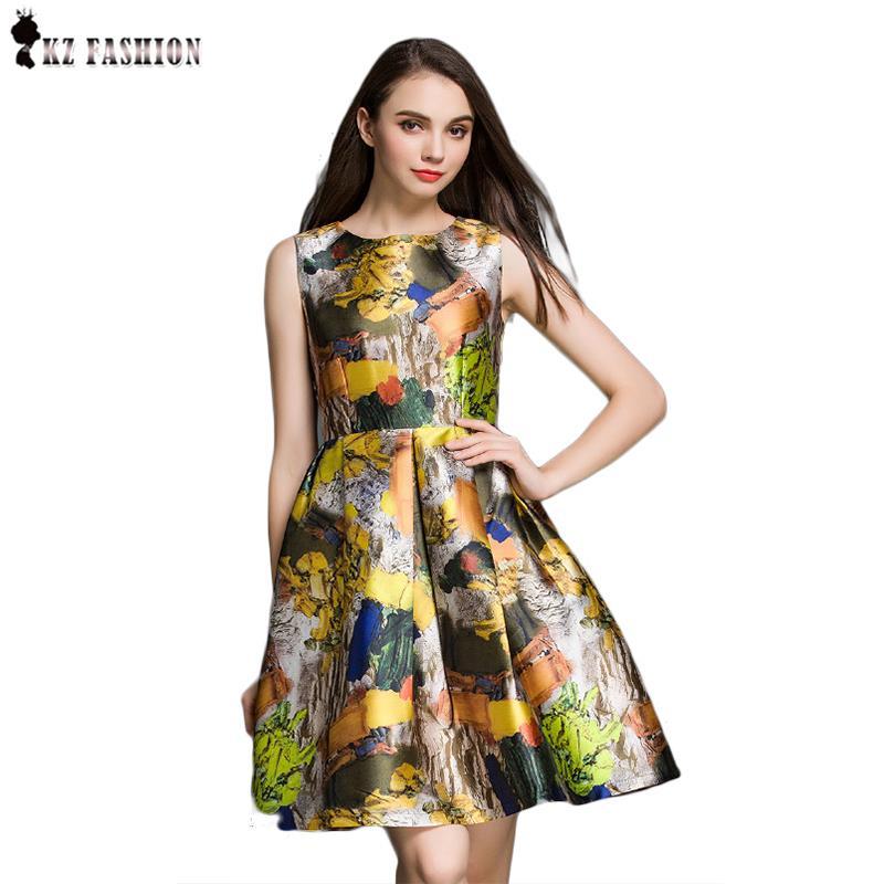 2016 new fashion hotsale women summer dress club dress short dress kleider sleeveless A line print dress color ginger D61A495R