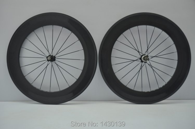 1pair New 700C 88mm tubular rim Road bicycle carbon wheelset 3K full carbon bike wheelset with hub+aero spoke+skewers Free ship(China (Mainland))