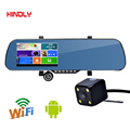HDL 5 inch IPS Car GPS Navigation 8GB DVR Rearview mirror Android 4 4 Dual Camera