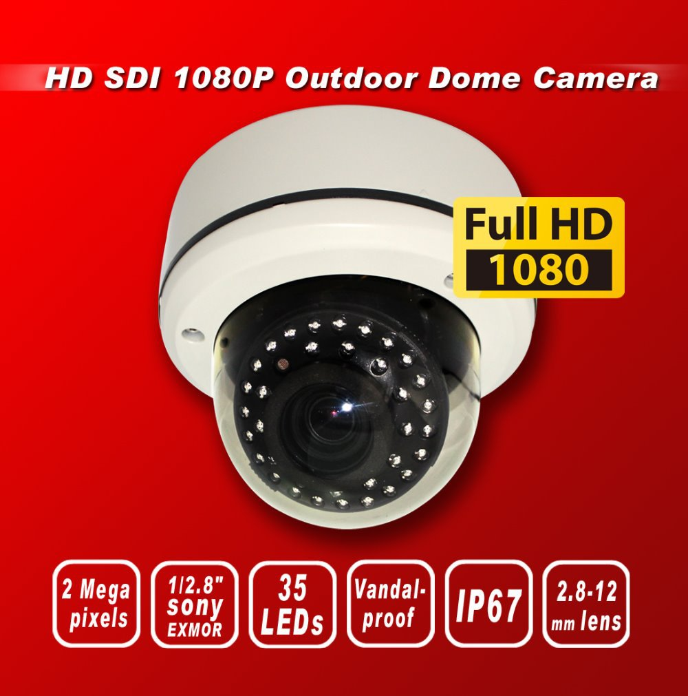Free shipping HD SDI 1080P 1/2.8''Sony Exmor Sensor security camera 35IR 2M 2.8-12MM Lens Vandal-proof Outdoor dome camera white(China (Mainland))