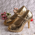 Wedopus Custom Handmade Mary Jane Shiny Gold Glitter Wedding Shoes Party for Women