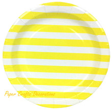 16pcs/lot 9inch Lemon Yellow Striped Theme Round Party Paper Plates Thanksgiving Party Tableware Supplies Free Shipping(China (Mainland))