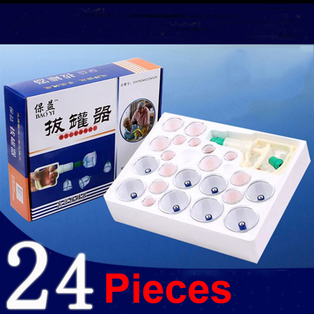 Traditional Chinese Medical 24 Cups Vacuum Cupping Set Kit Body Suction Health Massage Cupping Free Shipping(China (Mainland))