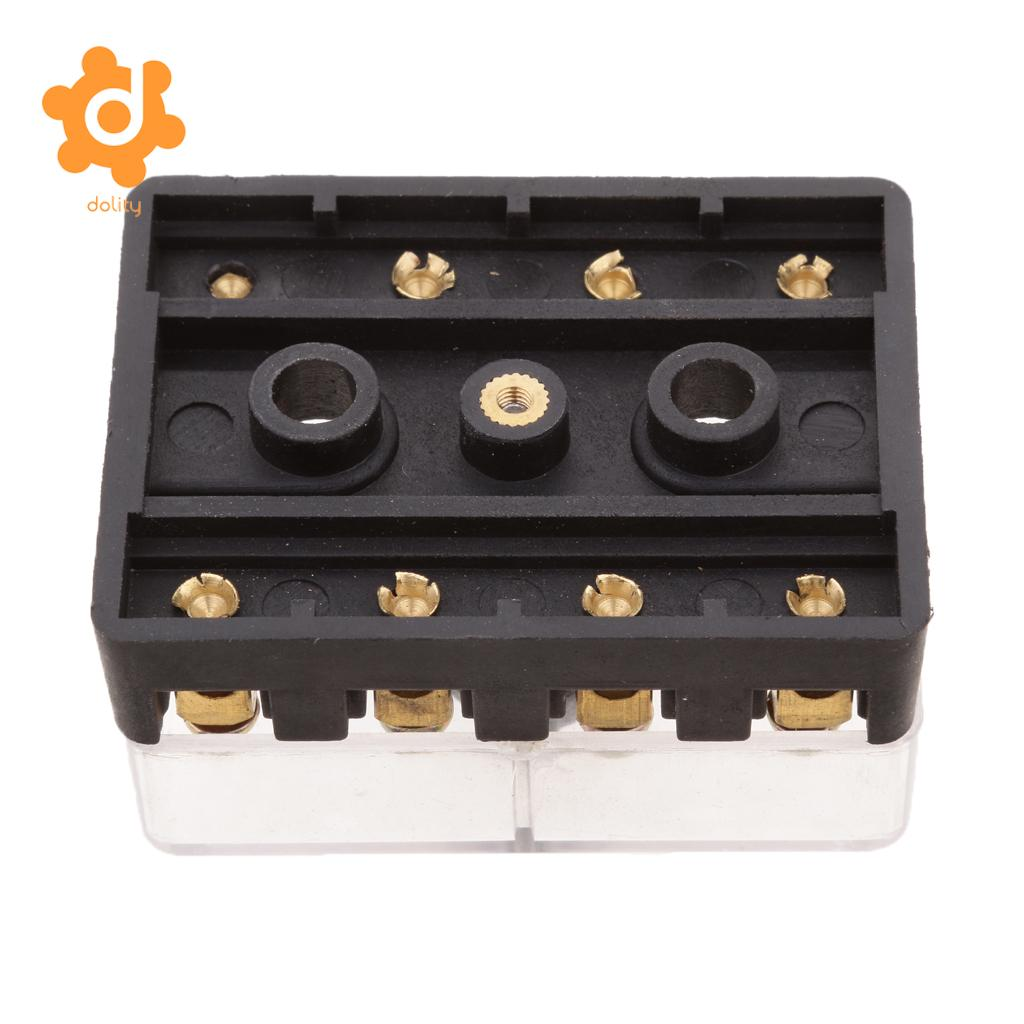 Universal Car 4 Ways Screw Down Fuse Block Box Holder for European GBC Fuse