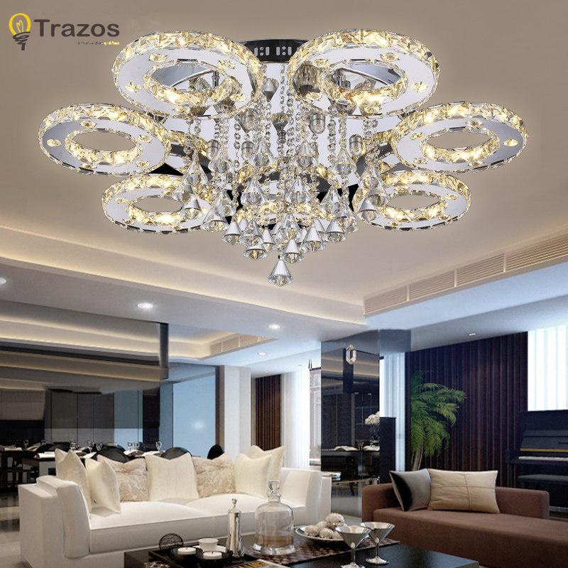 Modern Ceiling Light For Living Room: Modern Led Crystal Ceiling Lights For Living Room