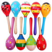 2016 New Colorful Wooden Maracas Baby Child Musical Instrument Rattle Shaker Party Toy