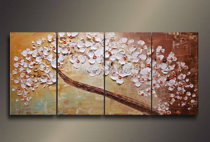 Buy Hand-painted modern home decor wall art pictureBranch white flowers thick palette knife oil painting  on canvas cheap