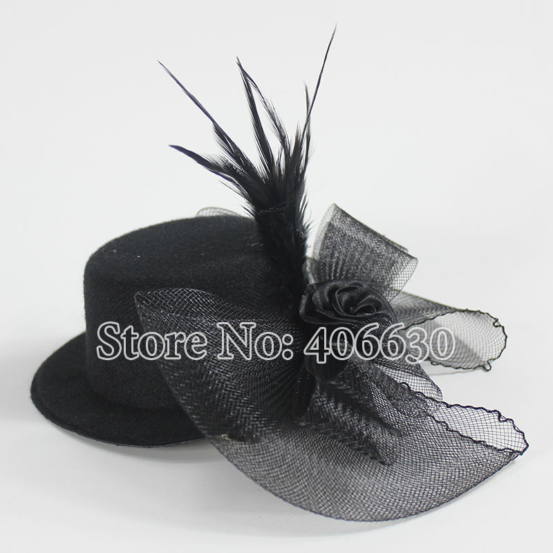 """5"""" Mini Top Hats Women Feather Accessories For Hair Fascinators clipped with Net 12pcs/lot Free Shipping MFF13-034(China (Mainland))"""