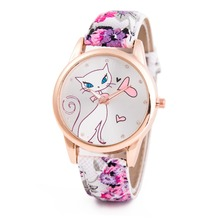2016 New Style Cute Cartoon Cat Watches Women Fashion Large Numeral Casual Watch Floral Strap Quartz Watch Relojes Clock Women
