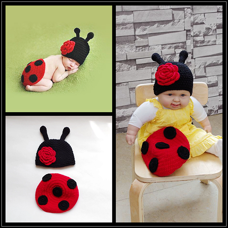 Crochet Ladybug Set Newborn Photography Props baby Hat cuteCover Infant Animal Beanie Hats ,baby knit hat fotografia FS - Royal apparel accessories factory store