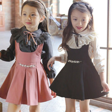 Buy 2016 Spring Children Baby Girls Dress Clothing Sets Kids Dresses Lace Collar T-Shirts+ Girl Dress 2-Pieces Sets for $17.01 in AliExpress store