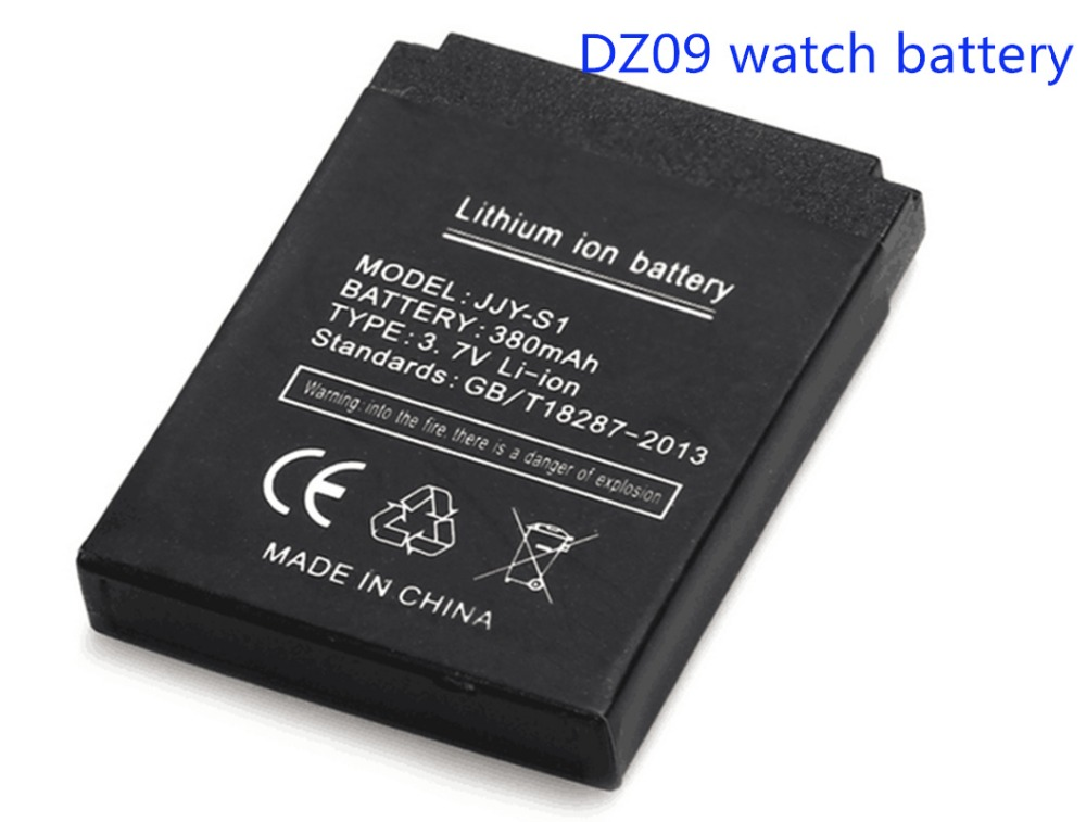 Free shipping 100 High Quality 1pcs Battery for DZ09 smart watch mobile phone battery 380 mAh