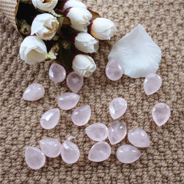 Making Jewelry 10pcs a lot Nature Stone 15*20mm High Quality Water Drop Rose Quartz Cabochon Pendant Charm(China (Mainland))