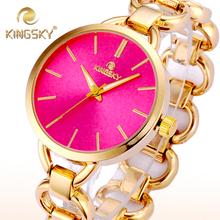 2015 envío gratuito Hot Pink Dial aleación dorado partido ronda mujeres reloj Kingsky marca Original pulsera de la venda del Punk cuarzo reloj