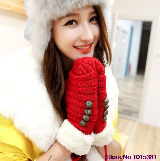 Korean Cute Thickening Warm Wool Button Gloves Winter Women Fashion Mittens iglove - iFashion Forward store
