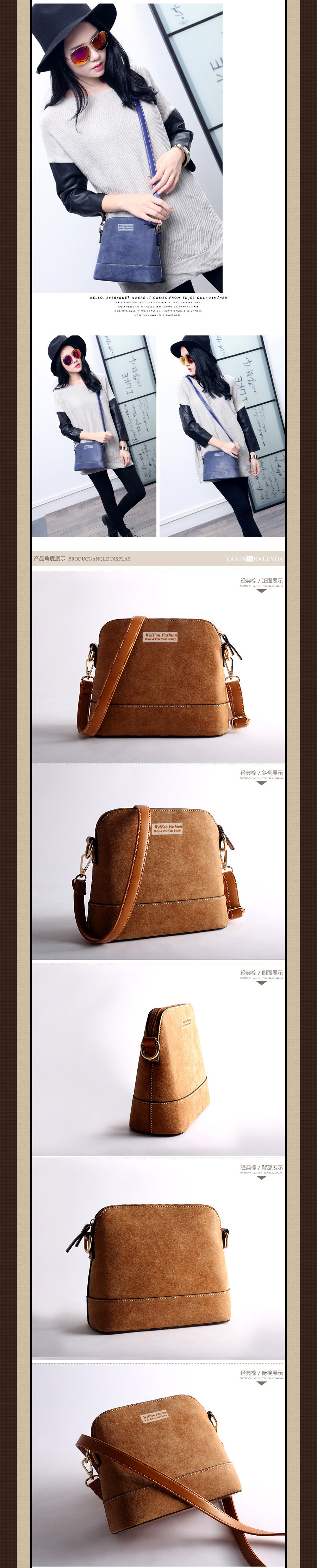 WF 2015 New Spring Women Bag Retro Matte Leather Women Shoulder Bags