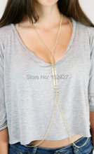 Fashion Golden Plated Fish Bone Chain Body Jewelry Sexy Body Chain Necklace Jewelry for Women