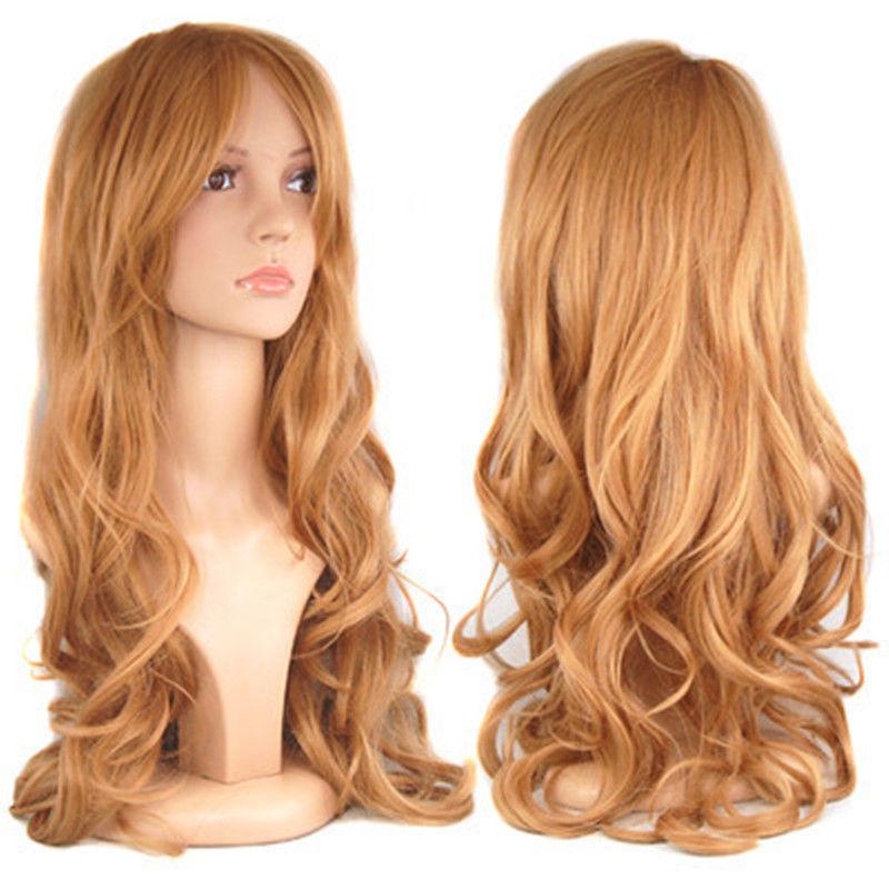 Blonde Ladies Long Wavy Curly Fancy Dress Hair Full Wigs +free wig cap(China (Mainland))