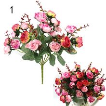 1 Bouquet 21 Head Artificial flower Rose Silk Flower Leaf Home Party Wedding Decorhot 4JWB(China (Mainland))