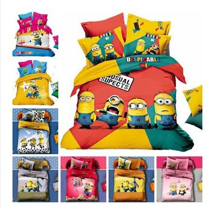 acheter minion lit ensembles de literie roi reine de taille cartoon couvre. Black Bedroom Furniture Sets. Home Design Ideas