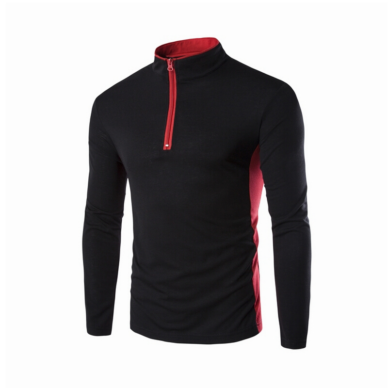 Fashion Designs Slim Fit Polo Men Stand Collar Long Sleeve