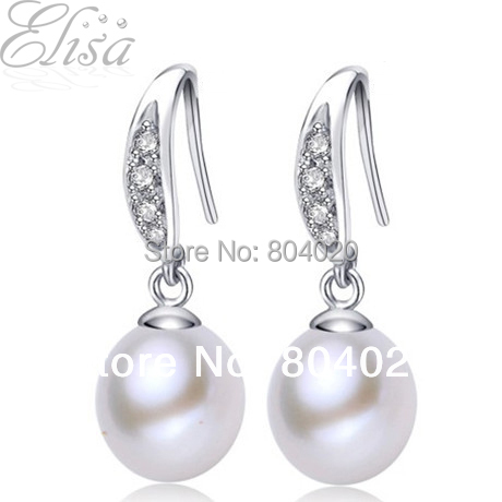 Waterdrop Real Natural Pearl Earrings With 925 Sterling Jewelry CZ Diamond Dangle Earrings Fashion Drop Earrings Bridal Pearl(China (Mainland))